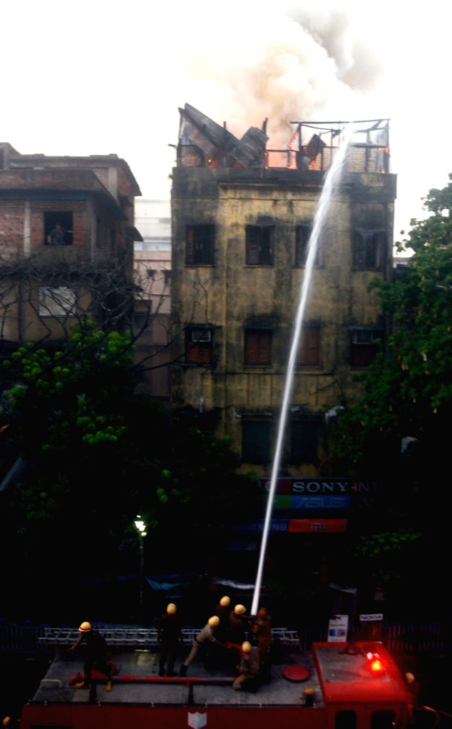 A fire that broke out in a multi-story commercial building at Chandni Chowk, in Kolkata, on June 16, 2019.