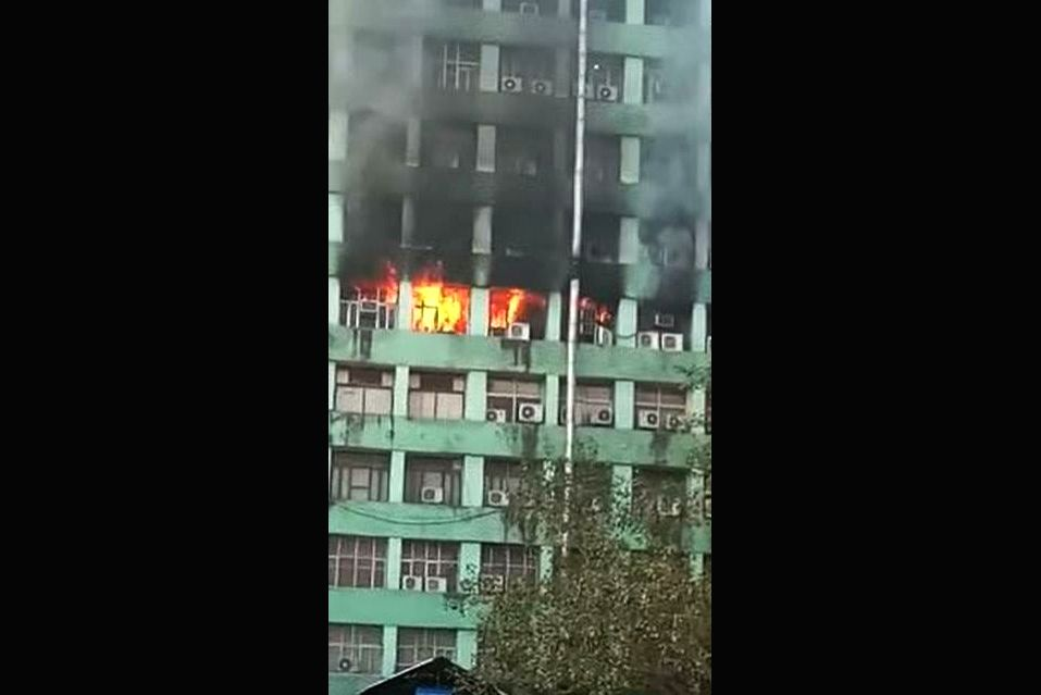 A fire that broke out on the fifth floor of the Pandit Deendayal Antyodaya Bhawan at the CGO complex, in New Delhi, on March 6, 2019. The blaze was first noticed at around 8.30 a.m., ...