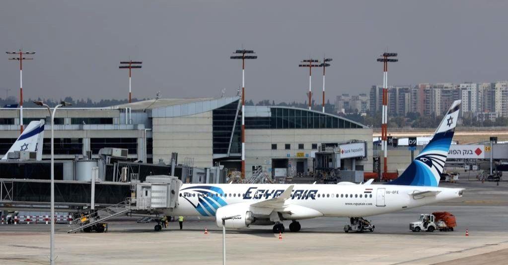 A flight of Egypt's flagship carrier EgyptAir lands at Ben Gurion Airport outside Tel Aviv, Israel on Oct. 3, 2021.