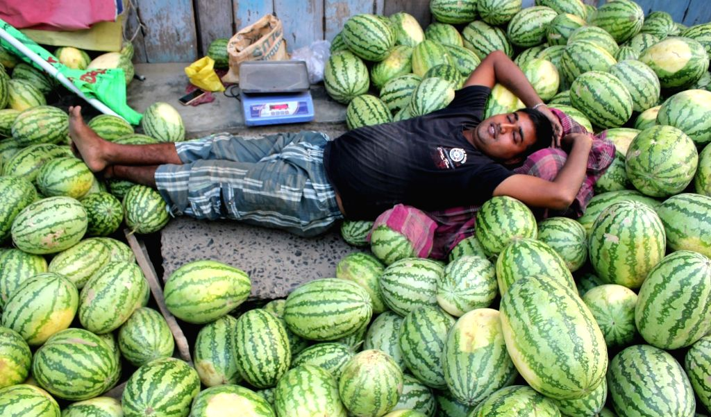 A fruit monger enjoys a siesta in Balurghat of West Bengal's South Dinajpur district on May 8, 2016.