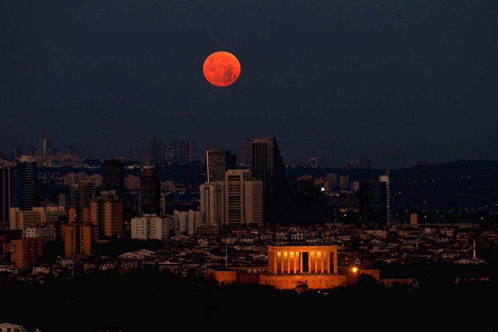 A full moon is seen in Ankara, capital of Turkey, on July 5, 2020.