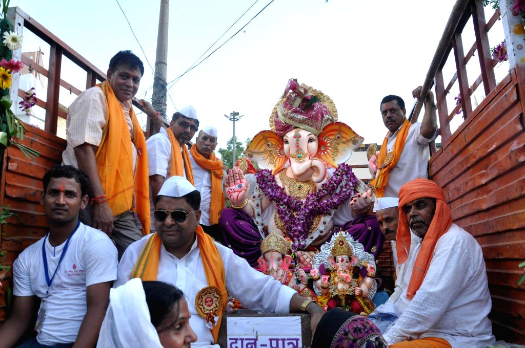 A Ganesh idol being taken for immersions after Ganesh Festival in New Delhi on Sept 8, 2014.