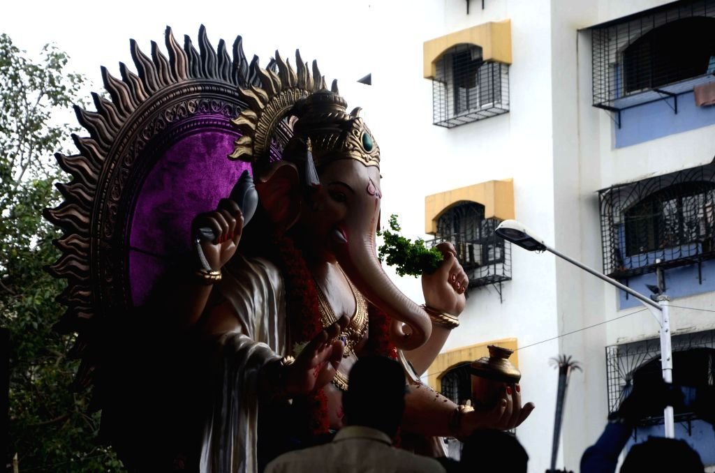 A Ganesh idol being taken for immersions in Mumbai on Sept 8, 2014.