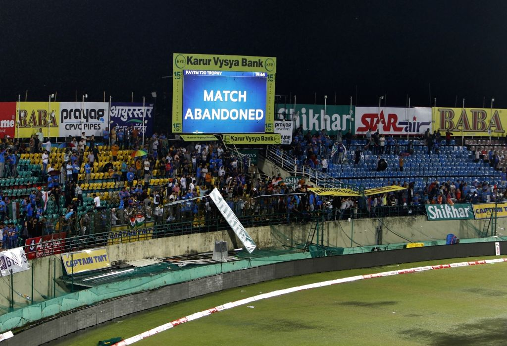"A giant screen displays the message of ""Match abandoned"" due to heavy rains during the first T20I match between India and South Africa in Dharamsala on Sep 15, 2019."