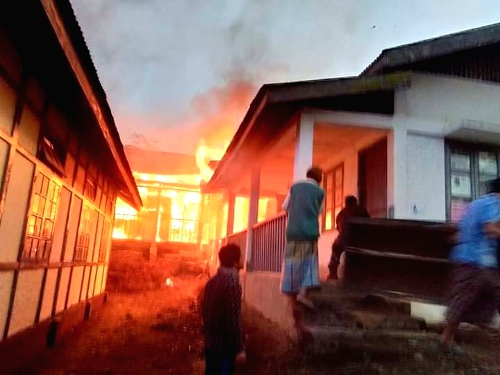 A government building set ablaze by an irate mob in Itanagar on Feb 25, 2019. Three days after violence erupted here over the state government's move to grant permanent residence ...