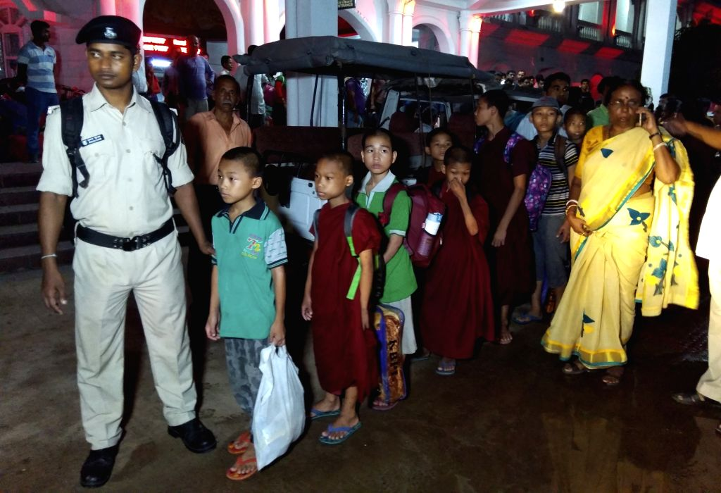 A group of 18 girls who were rescued by the Bihar Police from a Buddhist School and Meditation Centre in Bodh Gaya; arrive in Agartala on Sept 14, 2018. According to the police, the girls, ...