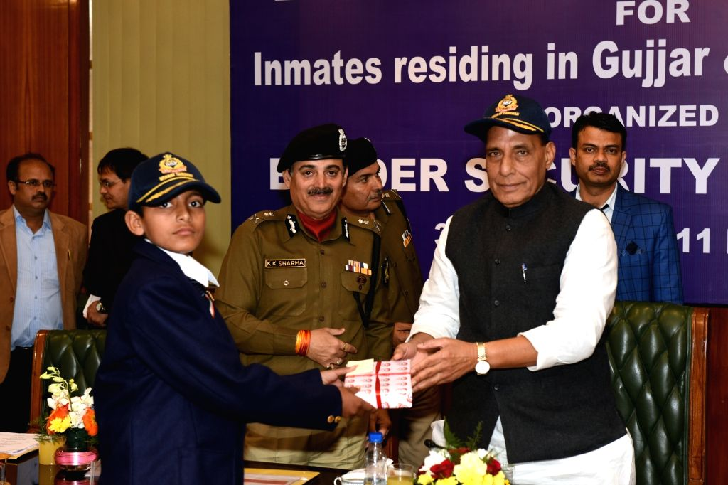 A group of school children of nomadic Gujjar and Bakerwal community from Jammu region call on Union Home Minister Rajnath Singh during their Bharat Darshan Tour; in New Delhi on Feb 6, ... - Rajnath Singh