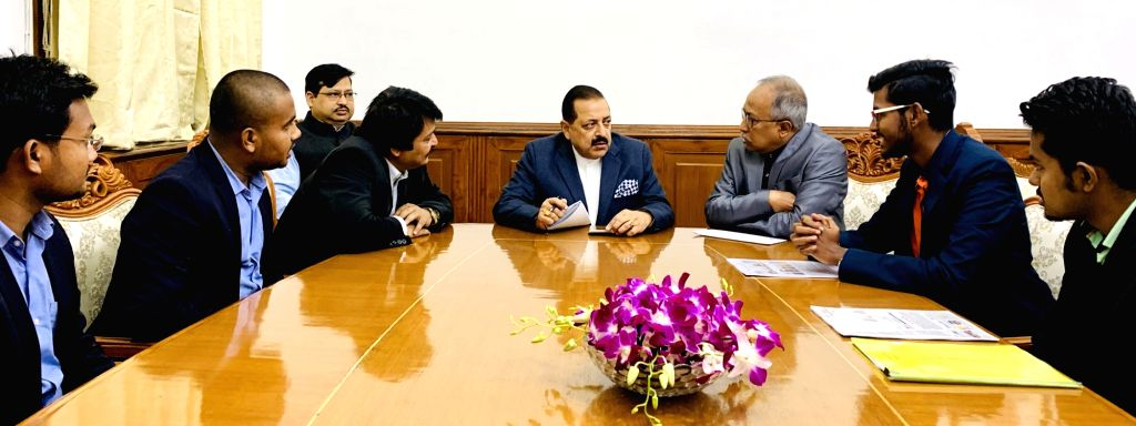A group of students from Veer Surendra Sai Space Innovation Centre (VSSSIC), Odisha, call on Union MoS Development of North Eastern Region (I/C), Prime Minister???s Office, Personnel, ... - Jitendra Singh