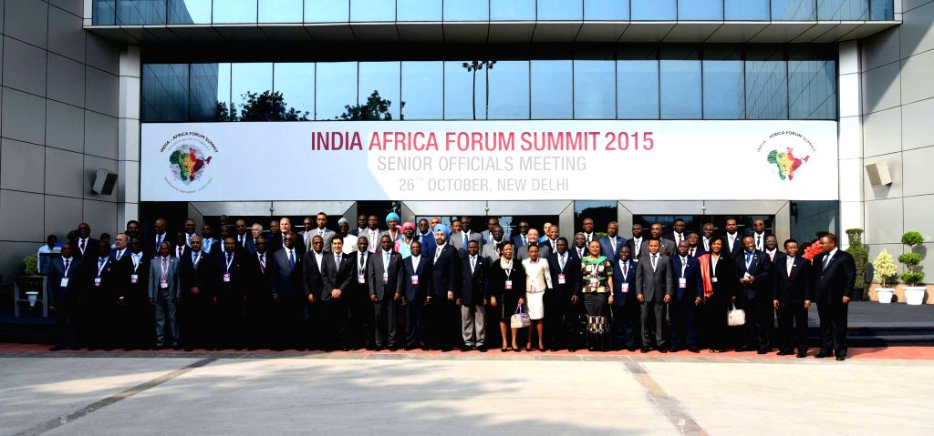 A Group photograph of delegates attending the Senior Officials` Meeting at 3rd India Africa Forum Summit in New Delhi on Oct 26, 2015.