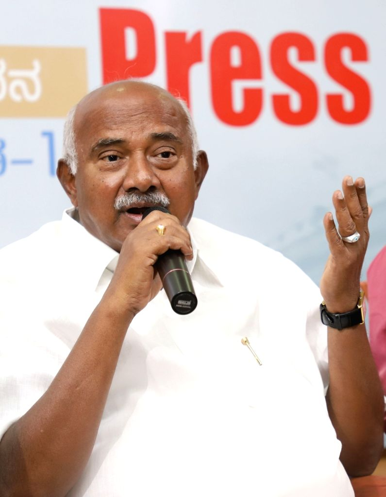 A.H. Vishwanath, who resigned from the post of Karnataka JD-S President, addresses a press conference in Bengaluru, on June 4, 2019.
