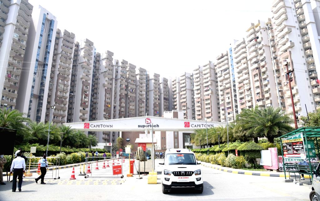 A Health Team reaches the Supertech Capetown Group Housing sector 74 Noida that was sealed after one of the residents tested positive for COVID-19 infection, on March 21, 2020.