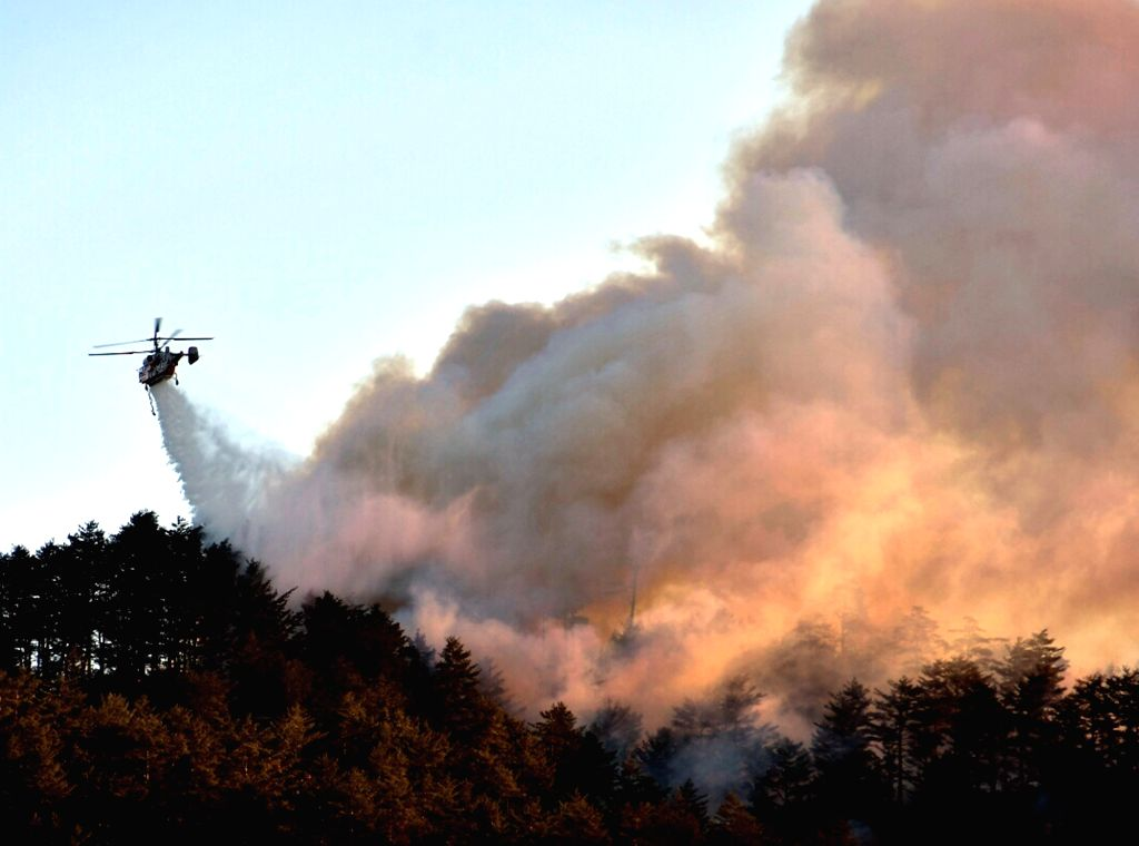 A helicopter helps put out a mountain fire in Samcheok, 290 kilometers southeast of Seoul, on Feb. 12, 2018, in this photo provided by the city. The fire broke out late in the evening of the ...
