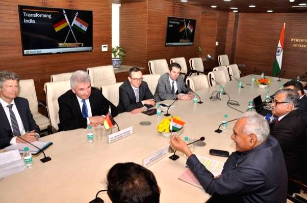A high-level German delegation led by Andreas Pinkwart, German Minister of Economic Affairs, Digitalisation and Energy of North Rhine Westphalia meets Union MoS Commerce and Industry C. R. ... - C. R. Chaudhary