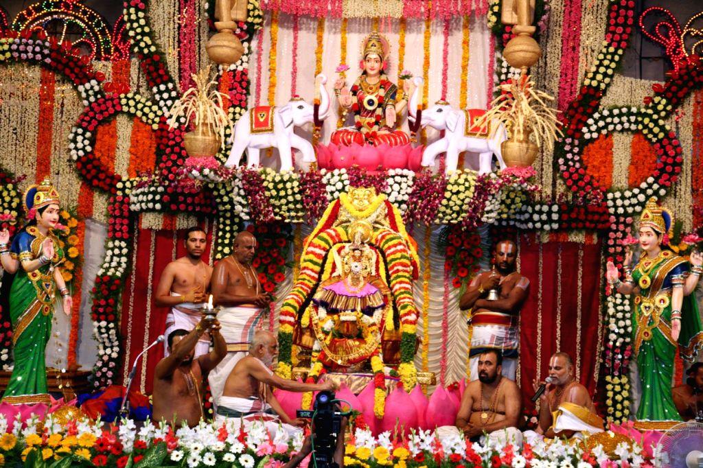 A Hindu festivals, Varalakshmi Vratam celebrated at the Goddess Padmavathi Devi, temple in Tiruchanoor on August 16, 2013. (Photo::: IANS)