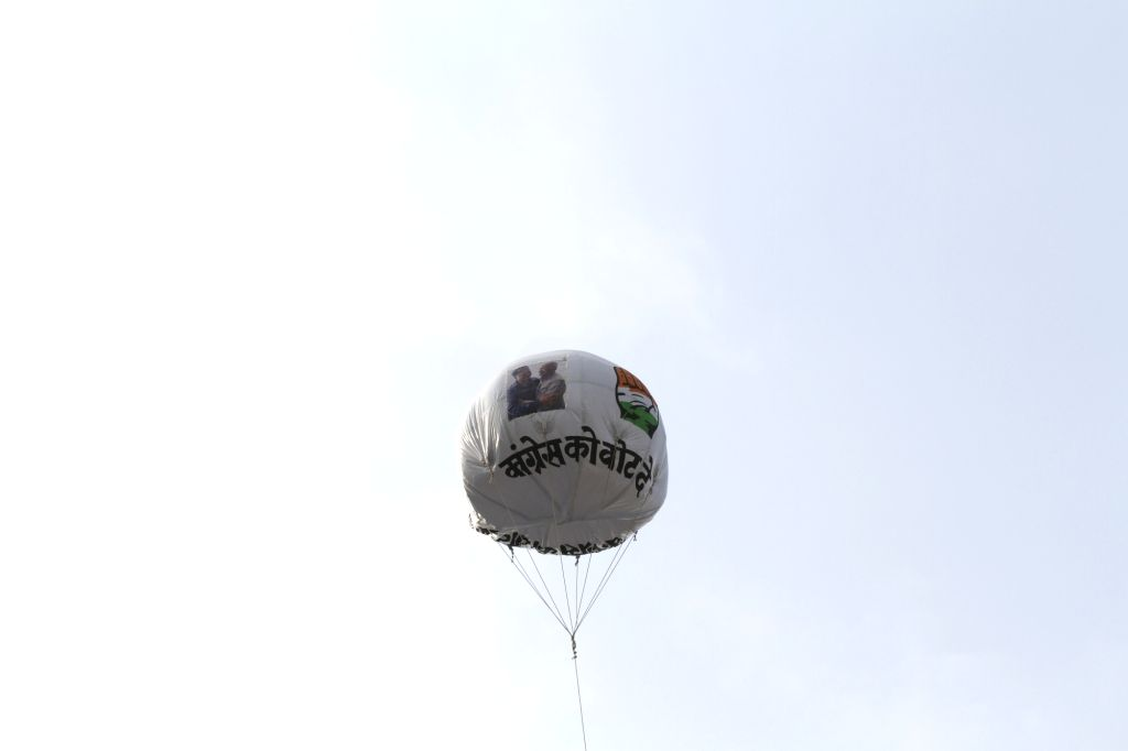 A hot air balloon urging people to vote Congress, installed by the party in Himachal Pradesh's Mandi as part of an election campaign for the forthcoming Lok Sabha polls, on May 10, 2019.