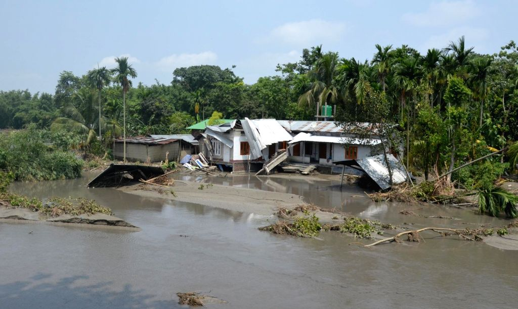 A house destroyed by floods in Athgaon village of Assam's Kamrup district on July 18, 2019.
