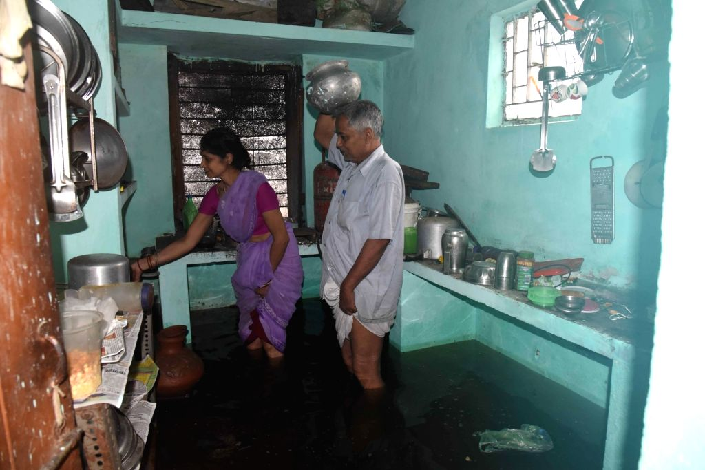 A house inundated with flood water in Patna, on Sep 30, 2019.