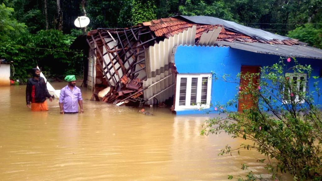 A house that collapsed in Kushalanagar of Karnataka's Kodagu district on Aug 9, 2019.