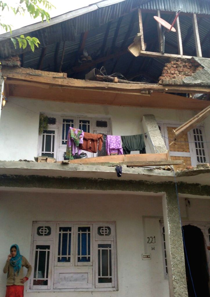 A house that was damaged in Baramulla after an earthquake jolted the city on Oct 26, 2015.