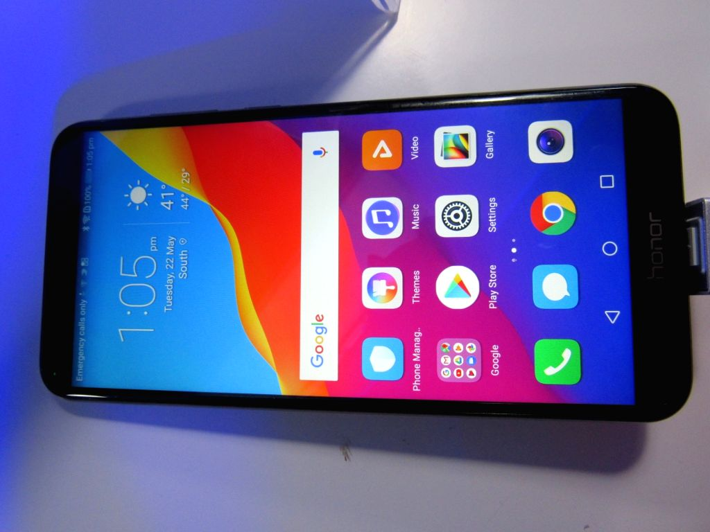 A Huawei Honor smatphone on display during the launch of Huawei Honor 7A and Honor 7C smartphones, in New Delhi on May 22, 2018. (Photo: IANS)