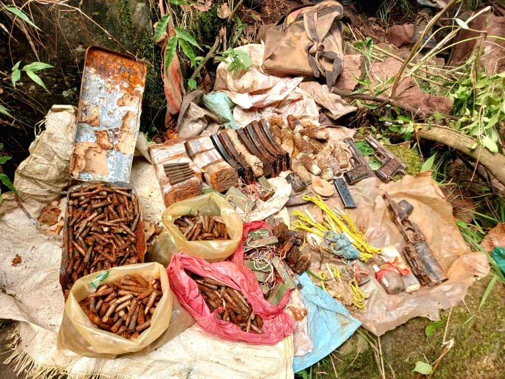 A huge cache of arms and ammunition was recovered by the police in Rajouri district of Jammu and Kashmir on July 4, 2020.