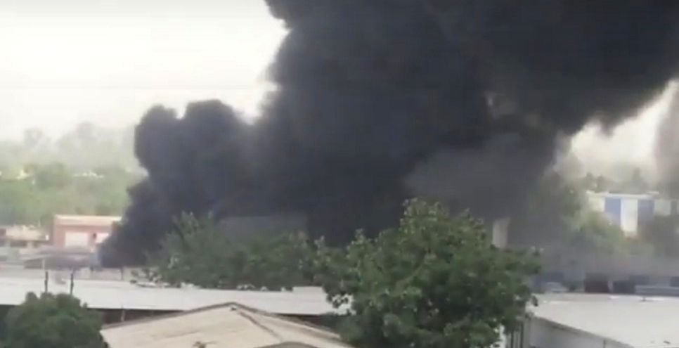 A huge fire broke out in the chemical company, 15 fire engines reached the spot and brought the fire under control.