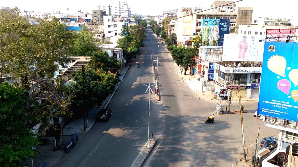 A Hyderabad street bears a deserted look on Day 5 of the 21-day countrywide lockdown imposed to contain the spread of novel coronavirus, on March 29, 2020.