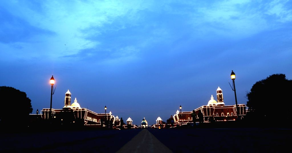 A illuminated North Block and South Block days before the Independence Day in New Delhi on Aug. 12, 2016.
