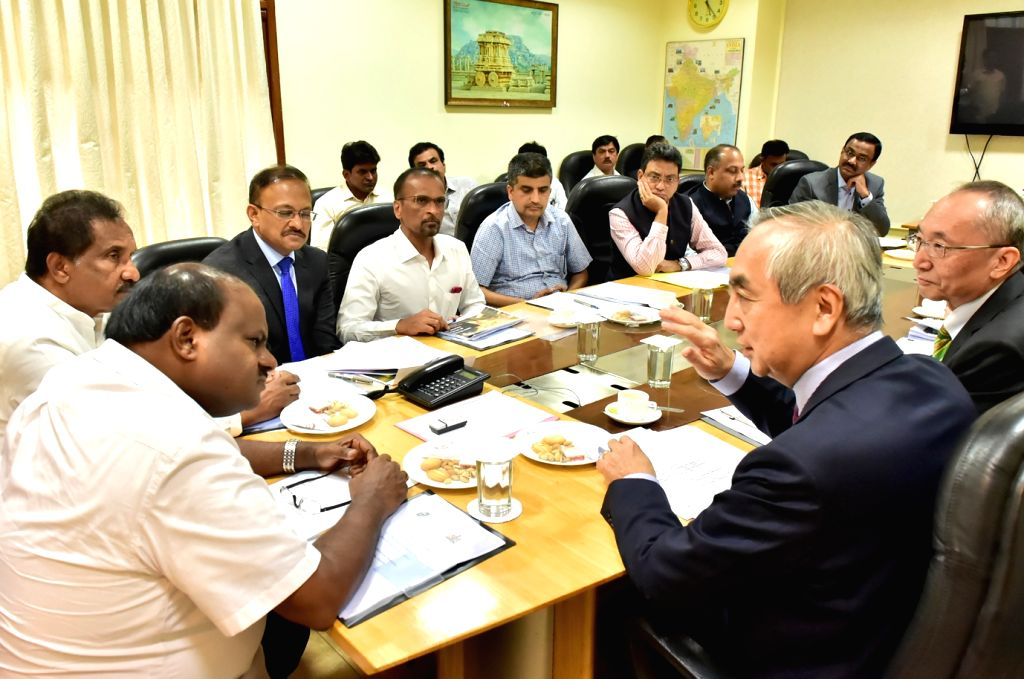 A Japanese delegation led by Ambassador of Japan to India, Kenji Hiramatsu calls on Karnataka Chief Minister H D Kumaraswamy, in Bengaluru on Jan 5, 2019. - H D Kumaraswamy