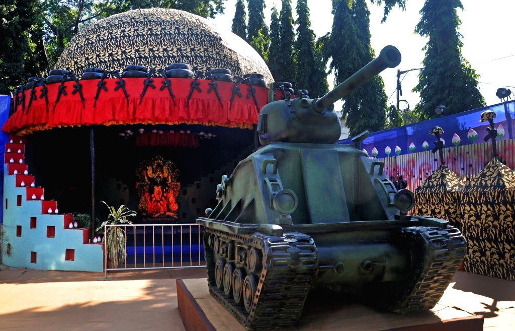 A Kali puja pandal paying tributes to the soldiers of our nation, comes up on the eve of Kali Puja celebrations, in Kolkata on Nov 13, 2020.