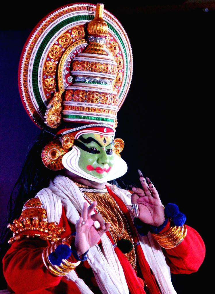 A Kathakali artiste performs during a Kerala Tourism programme in Bengaluru on Feb 12, 2019.