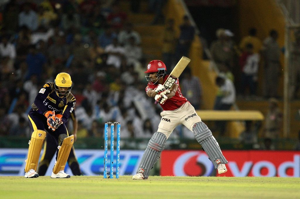 A Kings XI Punjab batsman in action during an IPL match between Kings XI Punjab and Kolkata Knight Riders at Punjab Cricket Association IS Bindra Stadium in Mohali on April 19, 2016.