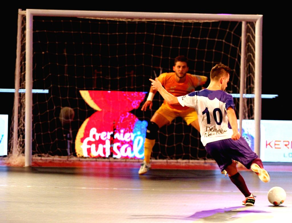 A Kochi's player in action during a Premier Futsal match between Kochi and Chennai; in Chennai on July 17, 2016.