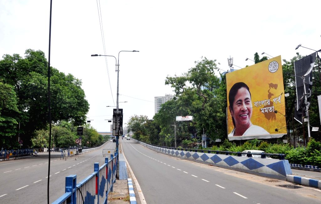 A Kolkata road bears a deserted look during the extended nationwide lockdown imposed to mitigate the spread of coronavirus; on Apr 22, 2020.