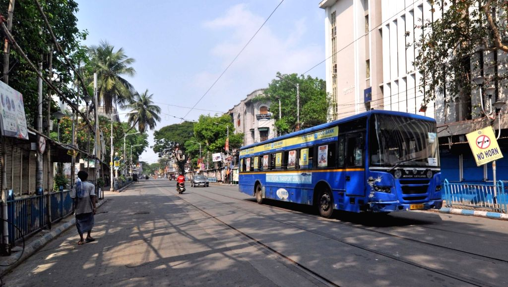 A Kolkata street bears a deserted look during the extended nationwide lockdown imposed to mitigate the spread of coronavirus; on Apr 23, 2020.