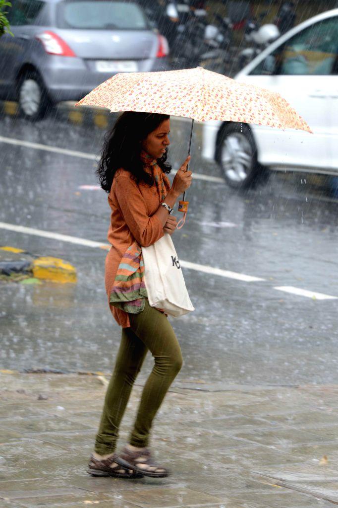 A lady braves rain in New Delhi on Aug 28, 2014.