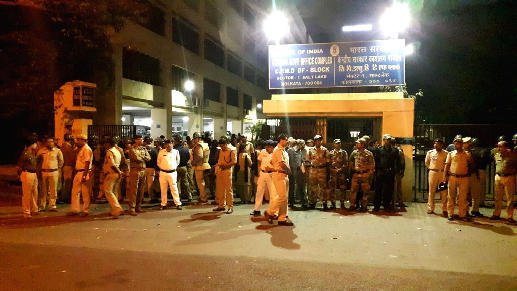 A large contingent of police deployed in front CBI office, CGO complex in Kolkata on Feb 3, 2019. This comes after a group of CBI officers approached the official residence of Kolkata police ... - Rajeev Kumar