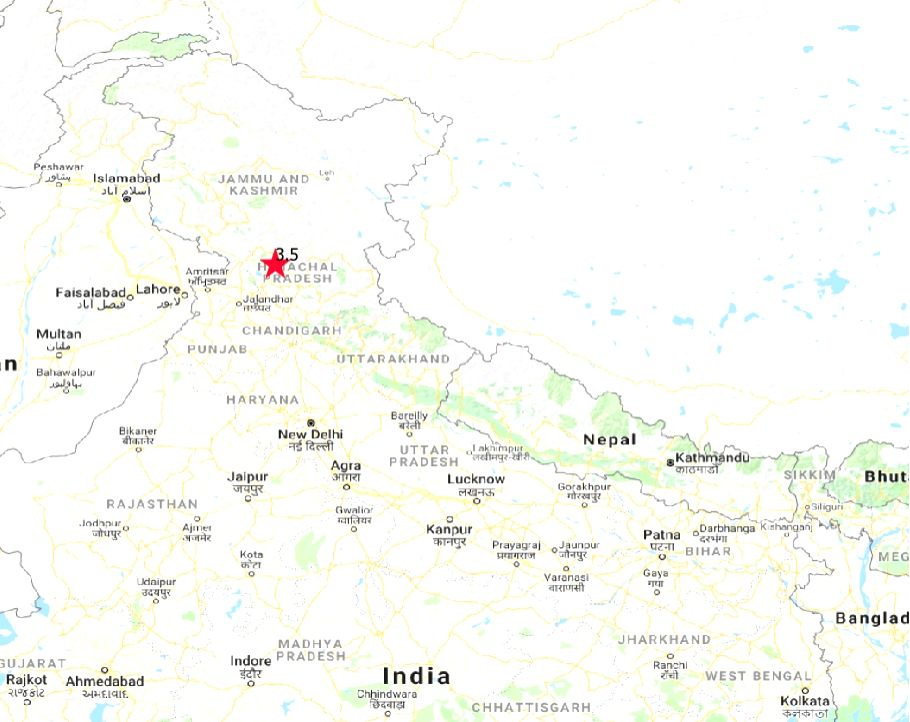 A low-intensity earthquake measuring 3.5 on the Ritcher scale hit Himachal Pradesh's Kangra district on Feb 13, 2019. There was no loss of life. (Photo: IANS/IMD)