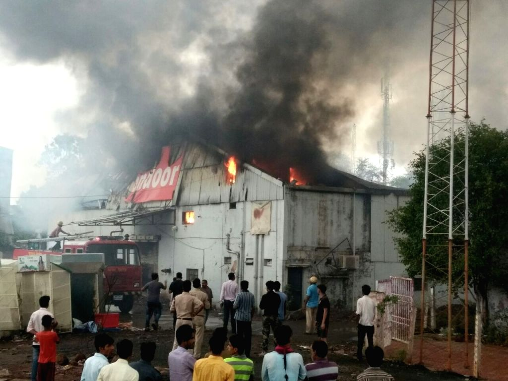 A major fire breaks out at a godown in Bhopal on June 11, 2017.
