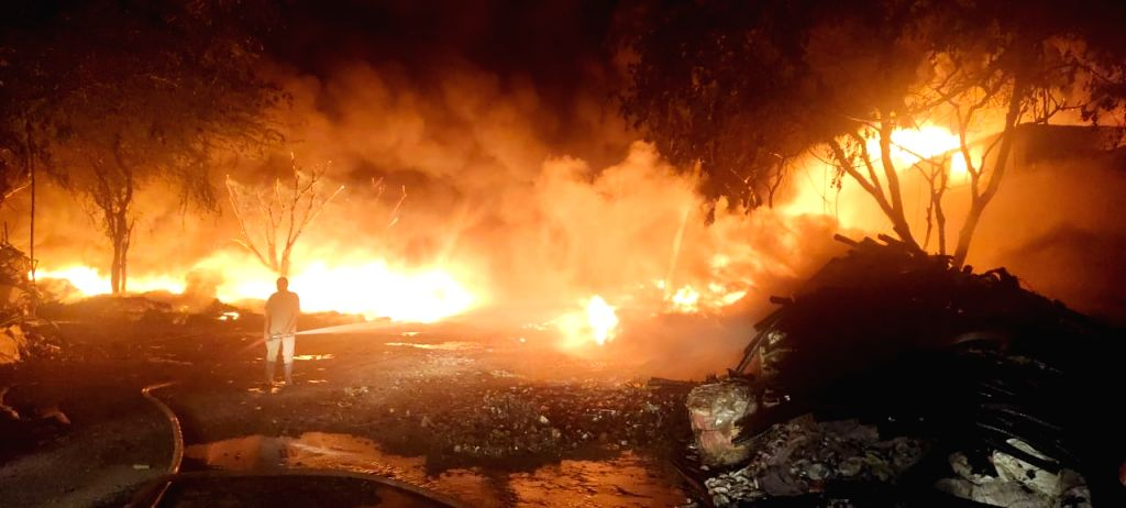 A major fire broke out at a scrap godown in the Tikri border area in New Delhi on May 6, 2020. The fire was reported around 2.50 a.m. A total of 30 Delhi Fire Service (DFS) vehicles was ...