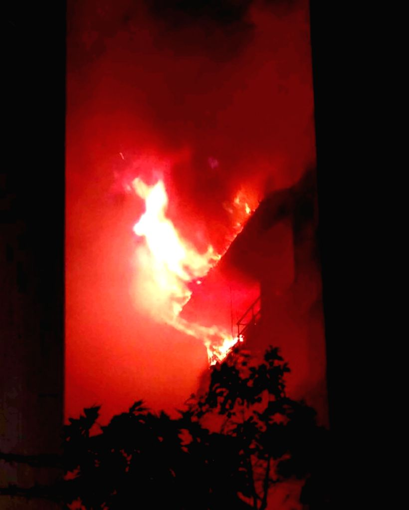 A major fire broke out in a five-storey building near Bombay Stock Exchange (BSE) in South Mumbai on Dec.1, 2016.