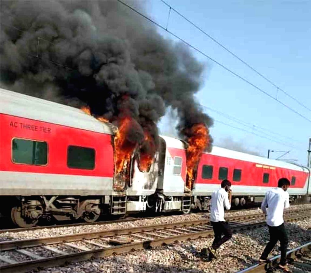 A major fire broke out in two coaches of the Hyderabad-New Delhi Telangana Express at around 7.43 a.m. at the Asaoti station in Haryana, on Aug 29, 2019. The train had passed Asaoti station ...