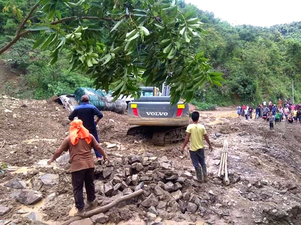 A major landslide occurred at near Kotlen along Imphal-Jiribam road in Manipur, on July 28, 2019.