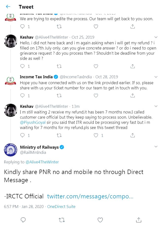 A man complained to Income Tax Department for the delay in receiving refund for the ITR filed by him seven months ago, but he got a reply from the Ministry of Railways which asked him to share his PNR number with them.