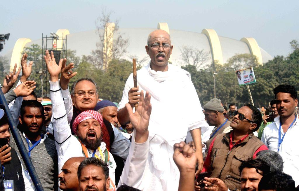 A man disguised as Mahatma Gandhi during a Congress rally in Patna's Gandhi Maidan on Jan 3, 2019.