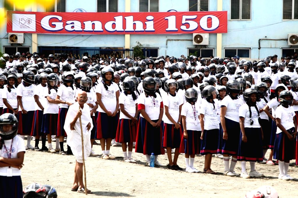 A man dressed up as Mahatma Gandhi participates in a programme organised ahead of Gandhi Jayanti, in Chennai on Sep 30, 2019.