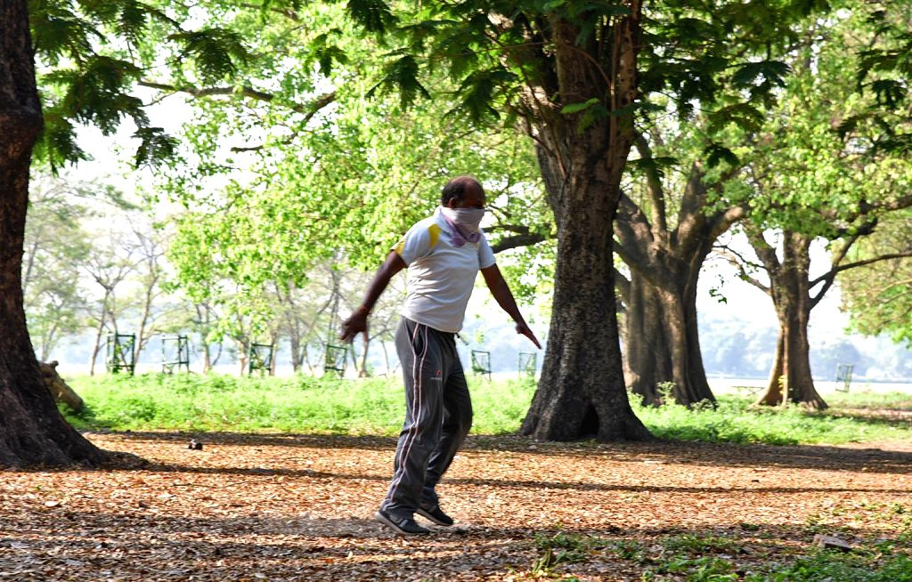 A man exercise at Maidan during the extended nationwide lockdown imposed to mitigate the spread of coronavirus, in Kolkata on May 9, 2020.