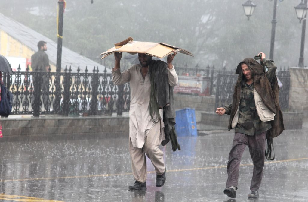 A man shields himself with a piece of paperboard during rains, in Shimla on July 25, 2019.