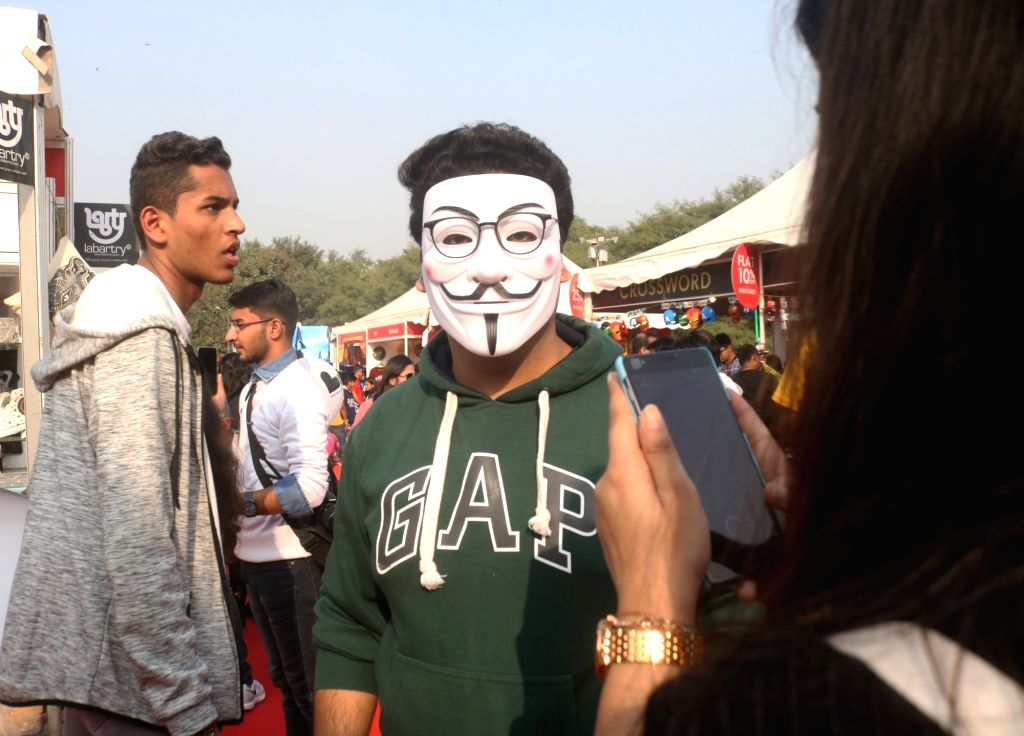 "A man with the mask of comic book character ""V"" at the three-day fest - ""Comic Con"" in New Delhi on Dec 8, 2018."