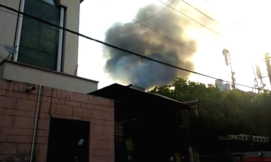 A massive fire breaks out at an auto parts factory in West Delhi's Peeragarhi area on May 28, 2019.